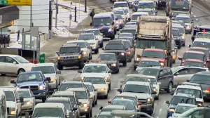 A traffic jam is shown in Calgary, Alta., in this file photo.