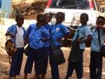 School children laugh in Freetown on Feb. 14, 2014. (CTV News / Ethan Faber)