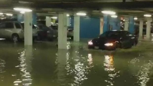 Water Main Break Floods Underground Parkade In Downtown