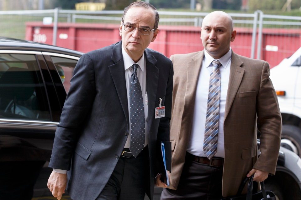 Syrian opposition chief negotiator Hadi Bahra, left, arrives for a meeting during the second round of negotiations between the Syrian government and the opposition at the European headquarters of the United Nations, in Geneva, Switzerland on Feb. 15, 2014. (AP / Keystone / Salvatore Di Nolfi)