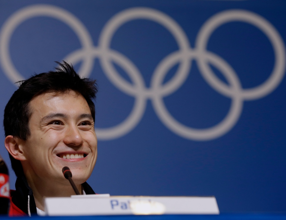 Silver medalist figure skater Patrick Chan, of Canada, speaks at a news conference at the 2014 Winter Olympics in Sochi, on Feb. 15, 2014. (AP / Morry Gash)