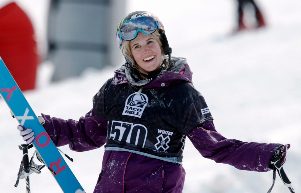 Sarah Burke, of Canada, reacts after failing to place in the top-three finishers in the slopestyle skiing women's final at the Winter X Games at Buttermilk Mountain outside Aspen, Colo., Jan. 28, 2010. (AP / David Zalubowski)