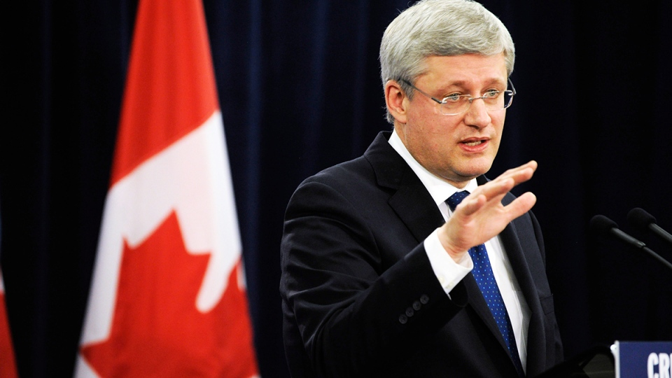 Prime Minister Stephen Harper speaks to media and guests about infrastructure funding at the Whitchurch-Stouffville Museum & Community Centre in Gormley, Ont., Thursday, Feb. 13, 2014. (Galit Rodan / THE CANADIAN PRESS)