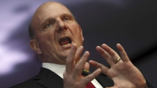 Microsoft CEO Steve Ballmer speaks during the CII Cloud Summit in New Delhi, India, Thursday, May 26, 2011. (AP Photo/Gurinder Osan)