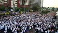 Philippines typhoon walk