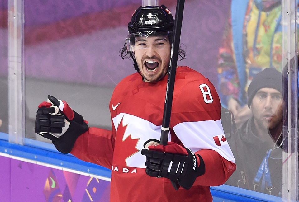 Canada defenceman Drew Doughty celebrates his goal against Finland during overtime preliminary hockey action at the 2014 Sochi Winter Olympics in Sochi, Russia on Sunday, February 16, 2014. (THE CANADIAN PRESS/Nathan Denette)