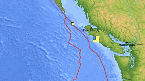 U.S. Geological Survey shows the location of the mild earthquake that rattled northern Vancouver Island early Thursday morning.