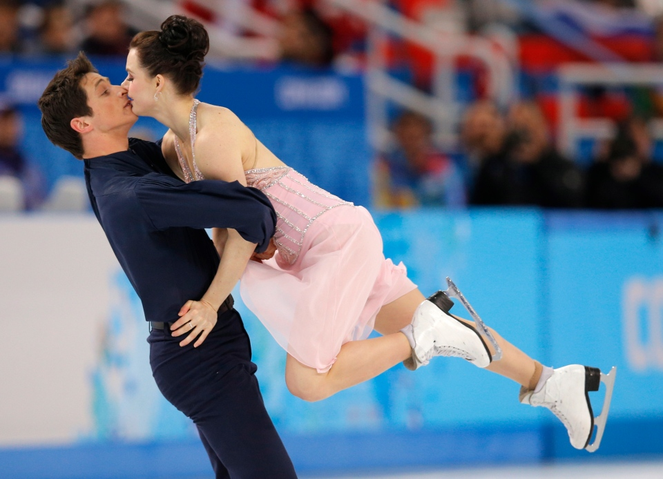 Tessa Virtue and Scott Moir of Canada compete in the ice dance free dance figure skating finals at the Iceberg Skating Palace during the 2014 Winter Olympics, Monday, Feb. 17, 2014, in Sochi, Russia. (AP / Vadim Ghirda)