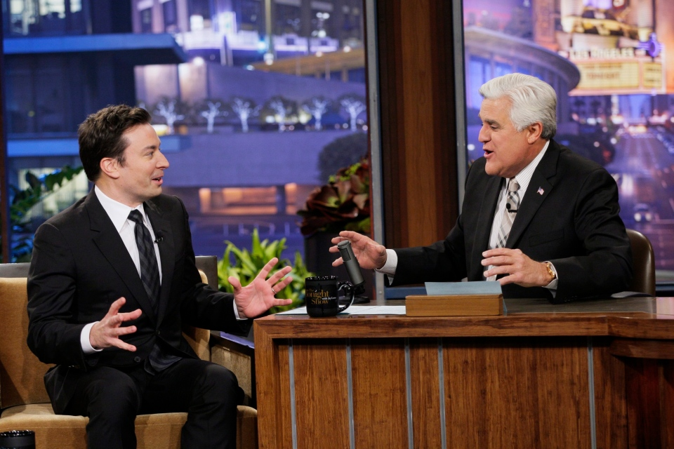 "Jimmy Fallon, left, and Jay Leno chat on season 22 of NBC's ""The Tonight Show with Jay Leno"" on February 3, 2014. (AP / NBC, Chris Haston)"