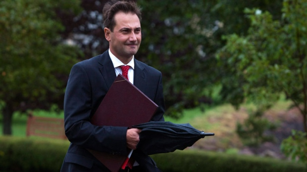 Prince Edward Island Premier Robert Ghiz heads to Fanningbank, the official residence of the lieutenant-governor, in Charlottetown on Tuesday, Sept. 6, 2011. THE CANADIAN PRESS/Andrew Vaughan