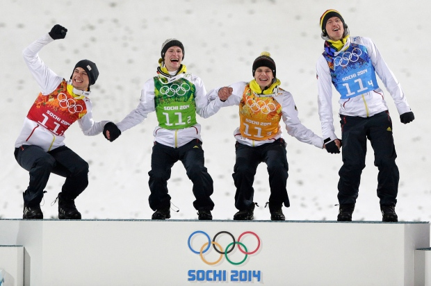 Germany takes gold in team ski jumping