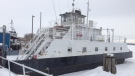 The Bluewater Ferry at Sombra sits stuck in the ice along the St. Clair River on Monday, Feb. 17, 2014. (Bryan Bicknell / CTV London)