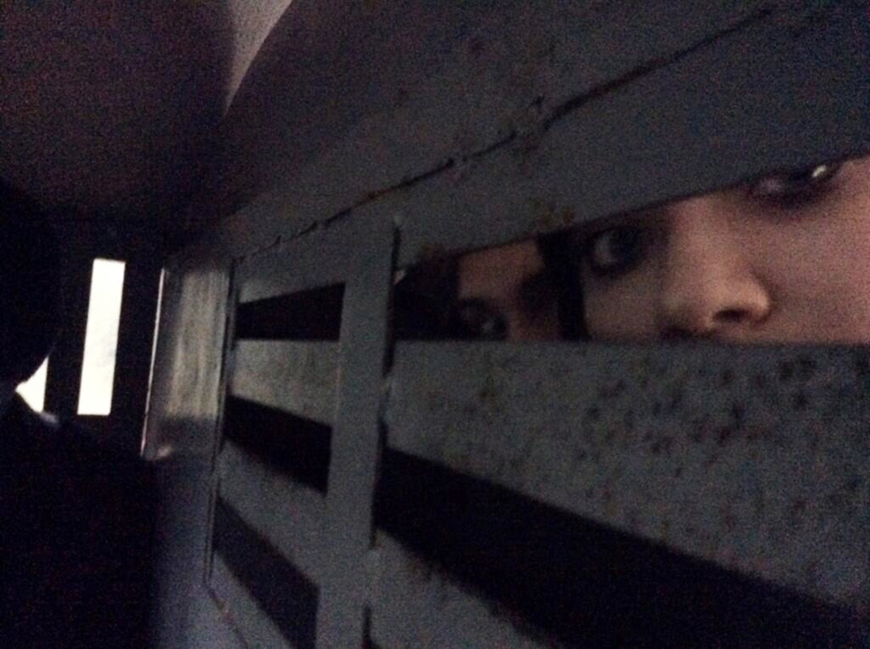 This photo provided by Maria Alekhina, a member of the punk band Pussy Riot, was taken in the back of a police detention vehicle after she and several others were detained in Sochi, Russia, on Tuesday, Feb. 18, 2014. (AP / Maria Alekhina)