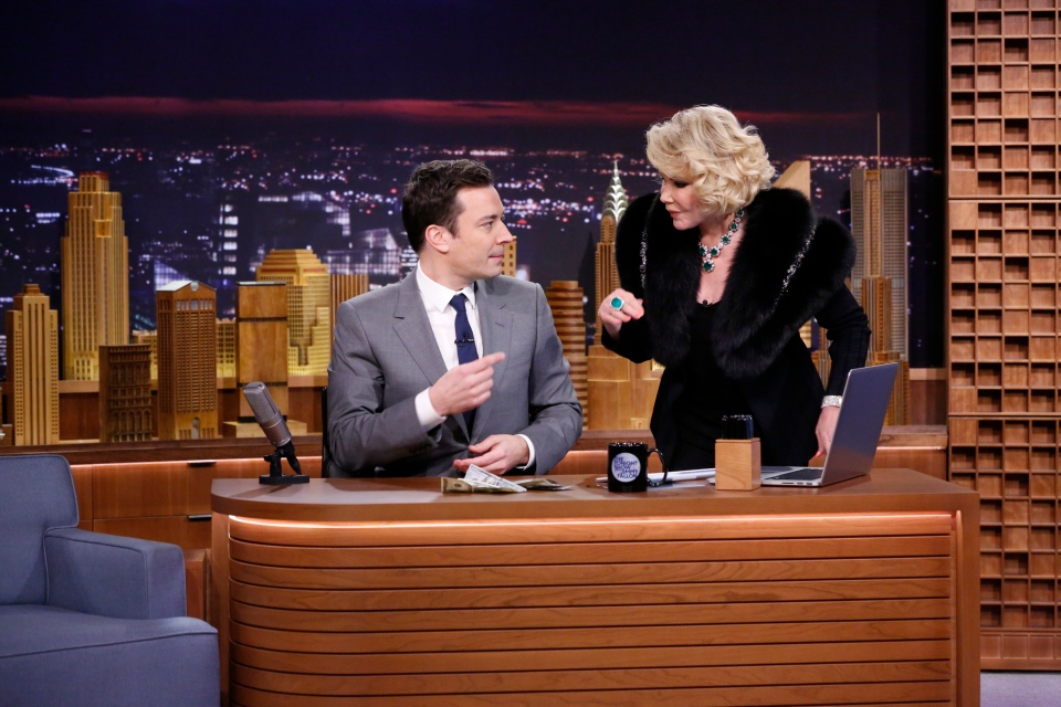 Jimmy Fallon appears with Joan Rivers, right, during his 'The Tonight Show' debut on Monday in New York,  Feb. 17, 2014. (NBC /, Lloyd Bishop)