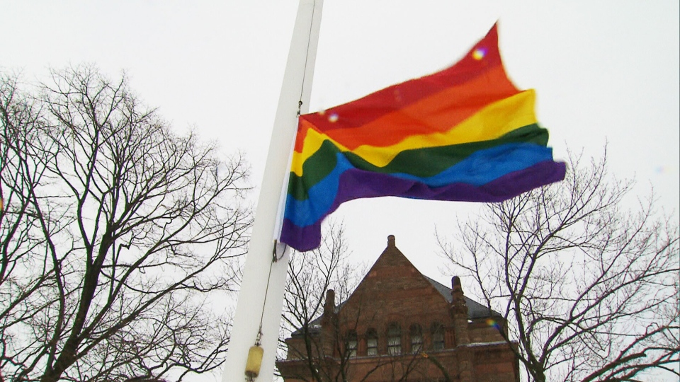 The rainbow flag is shown flying at the Ontario Legislature on Tuesday, Feb. 18, 2014.