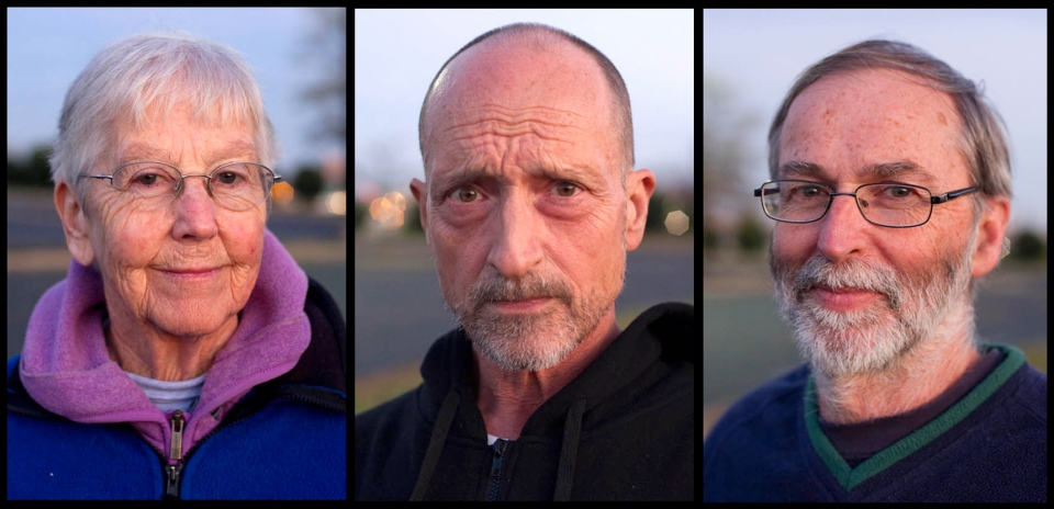 This combo photo shows anti-nuclear weapons activists Sister Megan Rice, left, Michael Walli, center, and Greg Boertje-Obed in Knoxville, Tenn., Nov. 19, 2012. (The Knoxville News Sentinel, Saul Young)