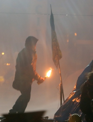 Protester in Kyiv, Ukraine