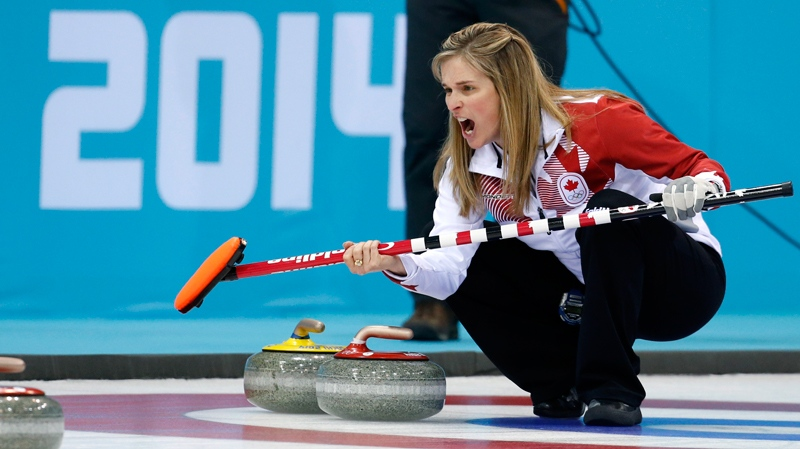 Canada's skip Jennifer Jones during the women's curling semifinal game against Britain at the 2014 Winter Olympics in Sochi, Russia, Wednesday, Feb. 19, 2014. (AP / Robert F. Bukaty)