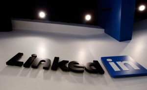 In this May 19, 2011 file photo, the LinkedIn logo is displayed in the foyer at headquarters in Mountain View, Calif. LinkedIn Corp. (AP / Paul Sakuma)