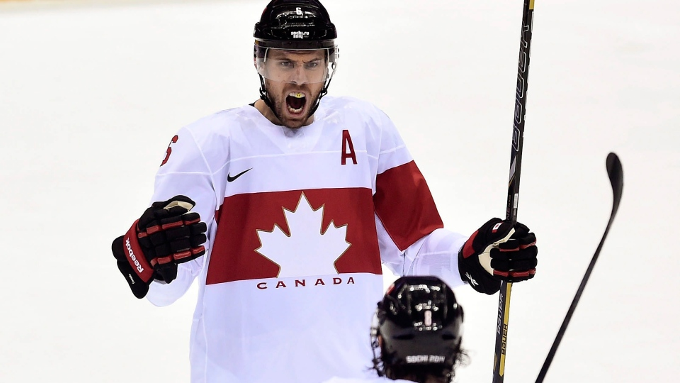 Canada defenceman Shea Weber celebrates his game-winning goal against Latvia with teammate Drew Doughty during third period quarter-final hockey action at the 2014 Sochi Winter Olympics in Sochi, Russia on Wednesday, Feb. 19, 2014. (Nathan Denette / THE CANADIAN PRESS)