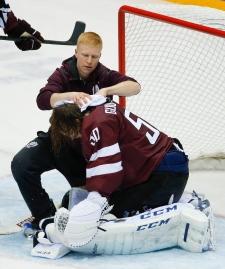 Latvia goaltender Kristers Gudlevskis