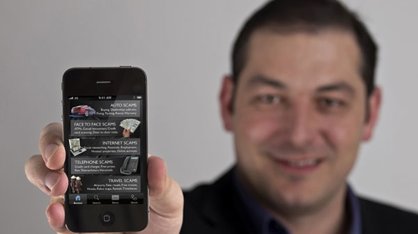 Sorin Mihailovici is the creator of the Scam Detector application for iPhones. The app climbed to No. 1 in Canada on Sunday, Sept. 18, 2011.