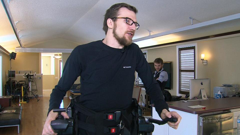 Mitch Brogan walks due to high tech exoskeletons