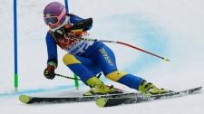 Ukraine's Bogdana Matsotska skis in Sochi, Russia