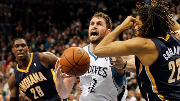 Minnesota Timberwolves forward Kevin Love (42) cat