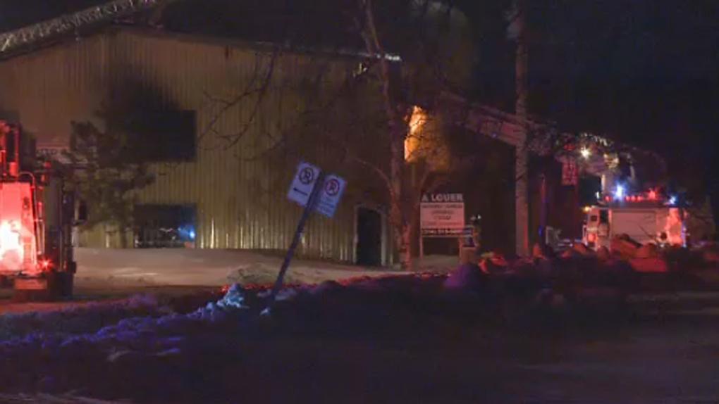 Flames at a St. Hubert warehouse