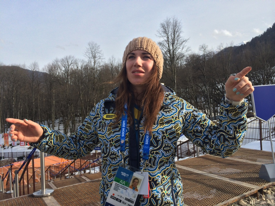 Ukrainian skier Bogdana Matsotska speaks during an interview with the Associated Press at the Sochi 2014 Winter Olympics in Krasnaya Polyana, Russia, Thursday, Feb. 20, 2014. (AP / Alexander Roslyakov)