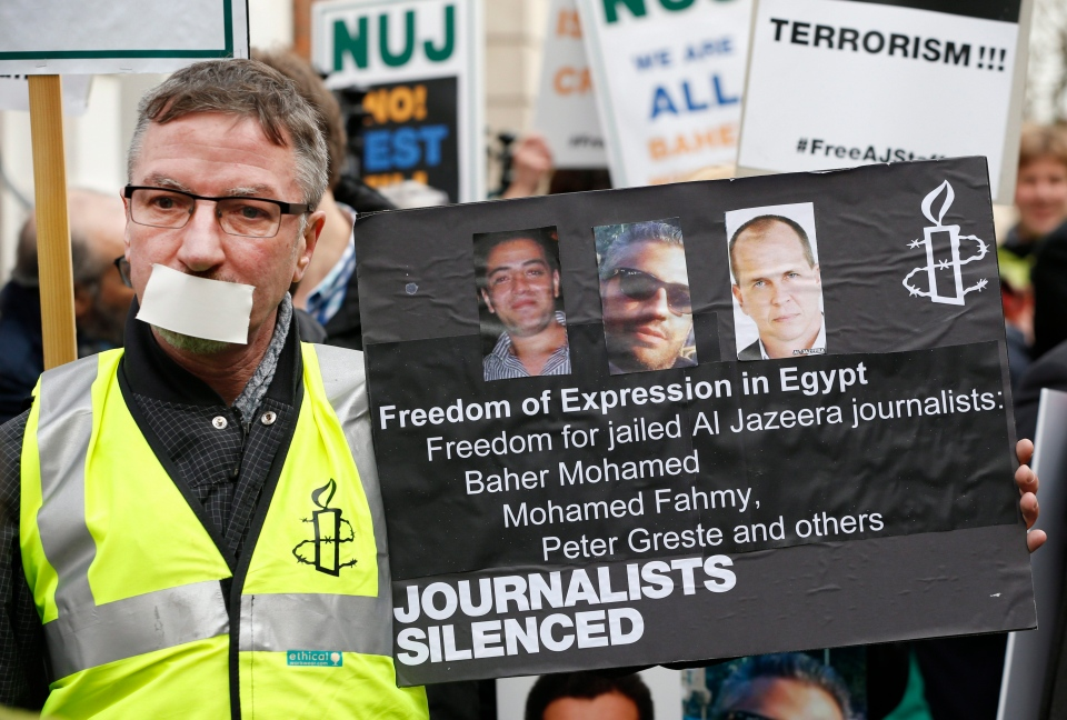 Journalists hold up placards as they demonstrate across the street from Egypt's embassy in central London, Wednesday, Feb. 19, 2014. (AP / Lefteris Pitarakis)