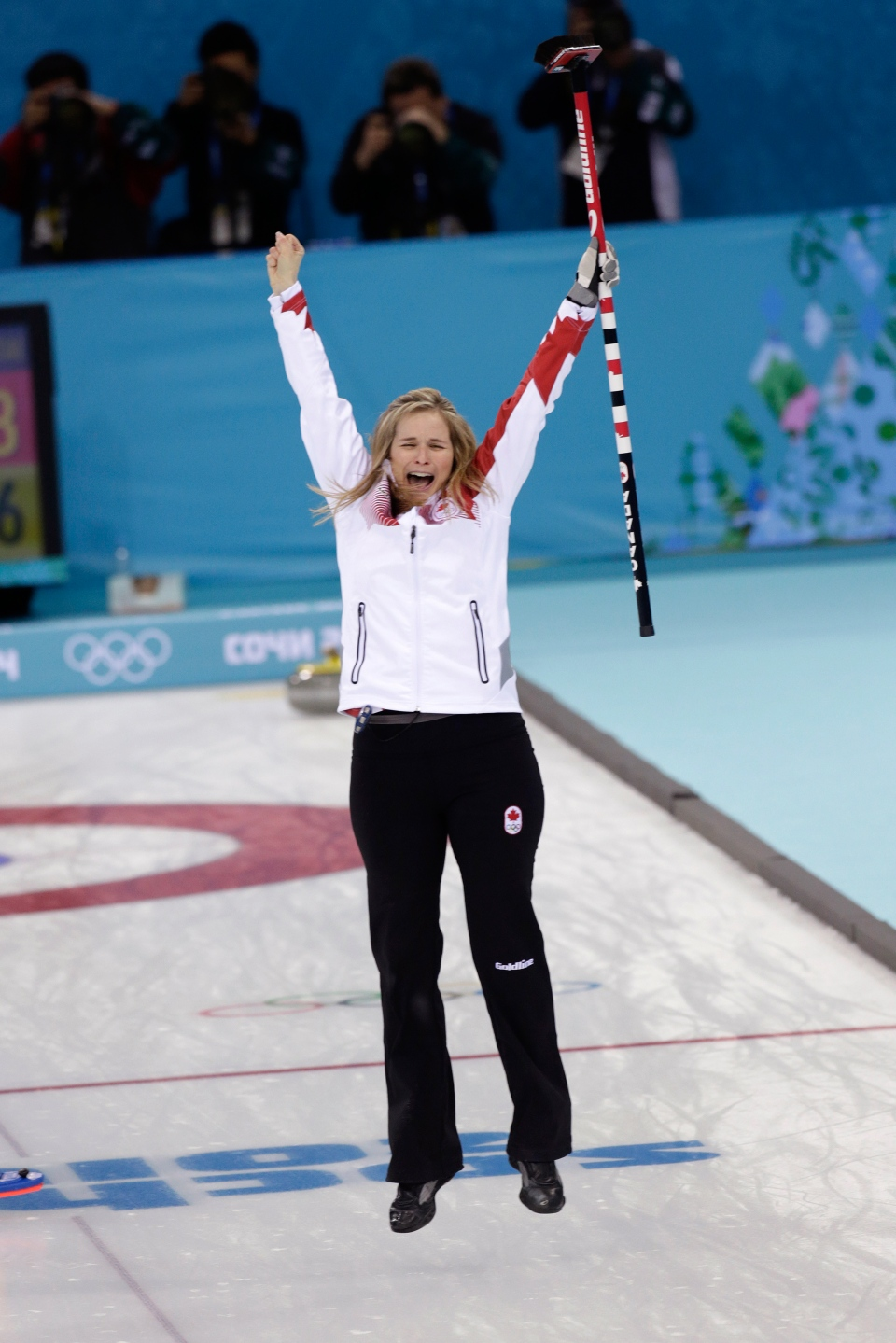 Canada's skip Jennifer Jones celebrates after winning the women's curling gold medal game against Sweden at the 2014 Winter Olympics, Thursday, Feb. 20, 2014, in Sochi, Russia. (AP / Wong Maye-E)