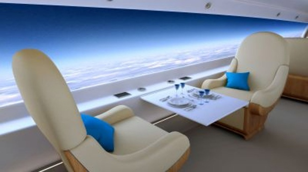 Supersonic jet with windowless cabin
