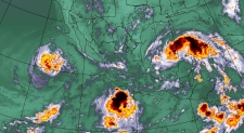 This infrared Environment Canada satellite image, from data provided by the NOAA, shows hurricane Fausto and tropical storm Dolly on Monday, July 21, 2008.