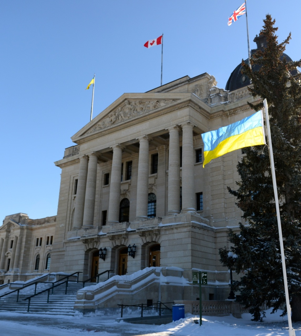 Ukrainian flag raised at Saskatchewan legislature