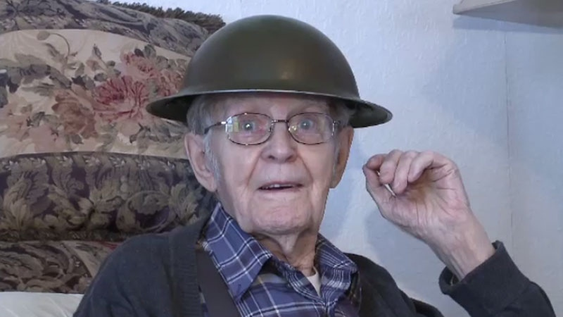Second World War veteran George Johnston was reunited with the lost helmet he wore on D-Day before he passed away. (CTV Atlantic)