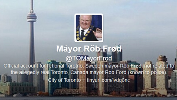 Rob Ford satire Twitter account @TOMayorFrod