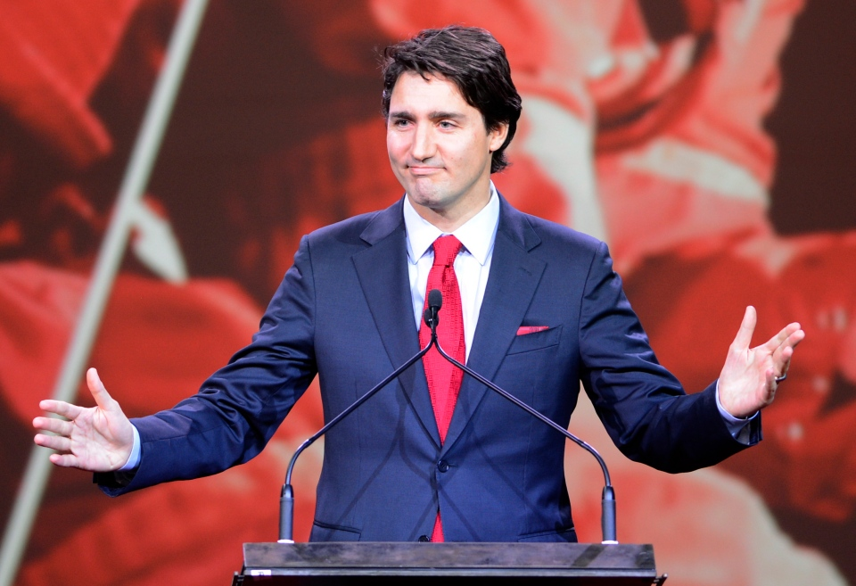 Liberal Leader Justin Trudeau addresses his party's policy biennial convention in Montreal, Thursday, Feb. 20, 2014. (Ryan Remiorz / THE CANADIAN PRESS)