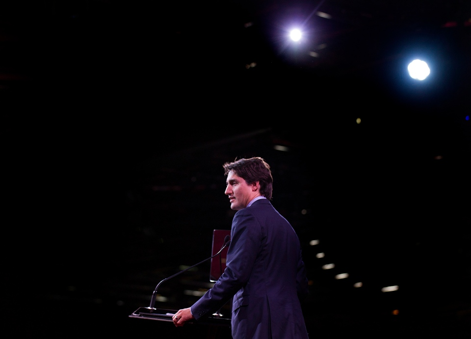 Federal Liberal leader Justin Trudeau delivers his opening address on day one of the party's biennial convention in Montreal, Thursday, Feb. 20, 2014. (Graham Hughes / THE CANADIAN PRESS)
