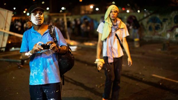 Demonstrators in Altamira, Caracas, Venezuela
