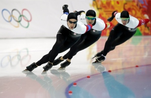 Team Canada competes in the men's speedskating team pursuit quarterfinals at the Adler Arena Skating Center during the 2014 Winter Olympics in Sochi, Russia, Friday, Feb. 21, 2014. (AP / Matt Dunham)