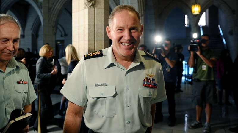 Chief of Defence Staff General Walter Natynczyk speaks to reporters in the foyer of the House of Commons on Parliament Hill in Ottawa on Monday, Sept. 19, 2011. (Sean Kilpatrick / THE CANADIAN PRESS)