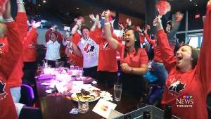 Cheering on team Canada