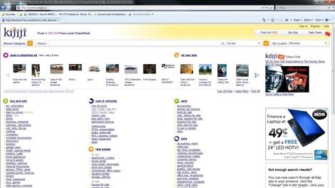 Classifieds website Kijiji is seen in this screen image taken Monday.