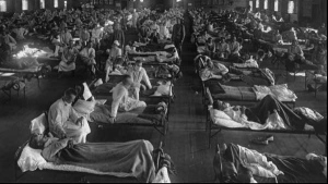 Influenza victims crowd into an emergency hospital near Fort Riley, Kansas in this 1918 file photo.