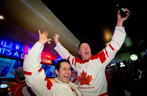 Fans celebrate Team Canada win