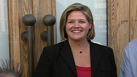 NDP leader Andrea Horwath says the other two leaders have the wrong idea of how to cut hydro bills in a stop in Ottawa Monday, Sept. 19, 2011.