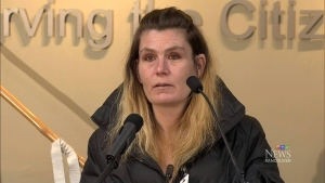 Tammy Sinclair is seen during a news conference in Surrey, B.C., on Friday, February 21, 2014.