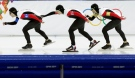 Speedskaters from Canada, left to right, Denny Morrison, Mathieu Giroux and Lucas Makowsky skate to take a fourth place in the men's team pursuit race against Poland at the Adler Arena Skating Center at the 2014 Winter Olympics, Saturday, Feb. 22, 2014, in Sochi, Russia. (AP / Matt Dunham)